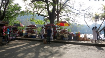 Street food sellers offer a variety of goods around the lake.