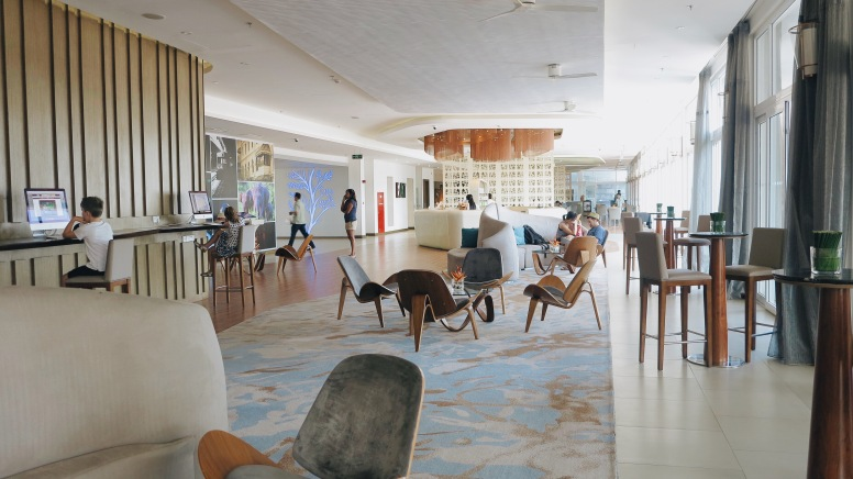 Modern, airy and welcoming lobby of Ozo, Kandy.