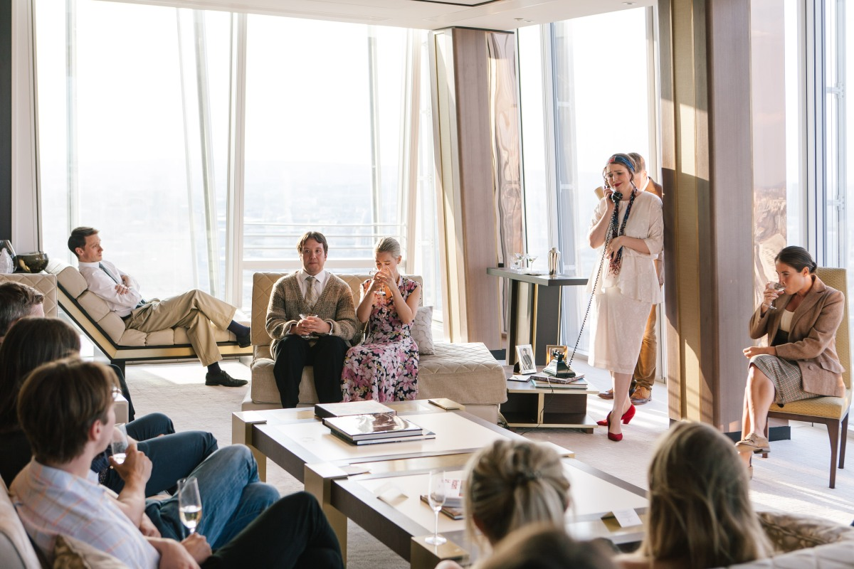 Revels in Hand, Actors Mark Donald, Henry Gilbert, Greer Dale-Foulkes, Melanie Fullbrook, Lucy Eaton, at Shangri-La Hotel, At The Shard, London (Photo credit Tomas Turpie)